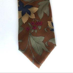 Vintage Pierre Cardin Brown Floral Silk Men's Tie